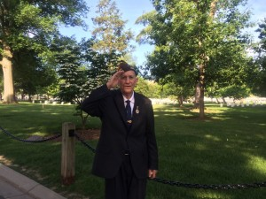 Paying his respects in Arlington Cemetery, June 6, 2014. The 70th anniversary of the Normandy Invasion.